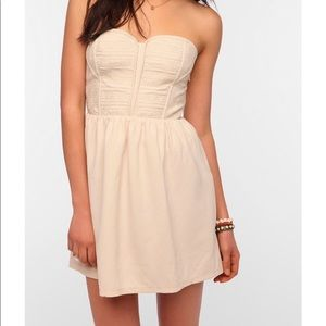 Urban Outfitters Cream Strapless Mini Dress
